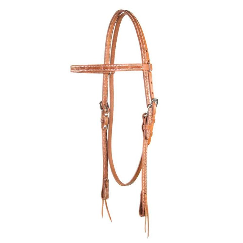 Cognac Barbwire Browband Headstall