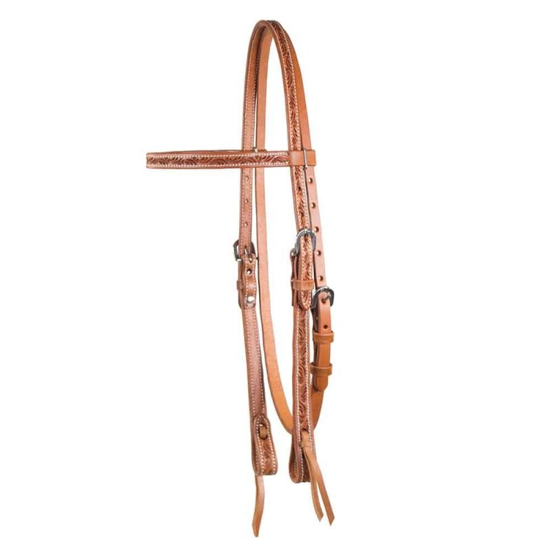 Cognac, Tooled Browband Headstall