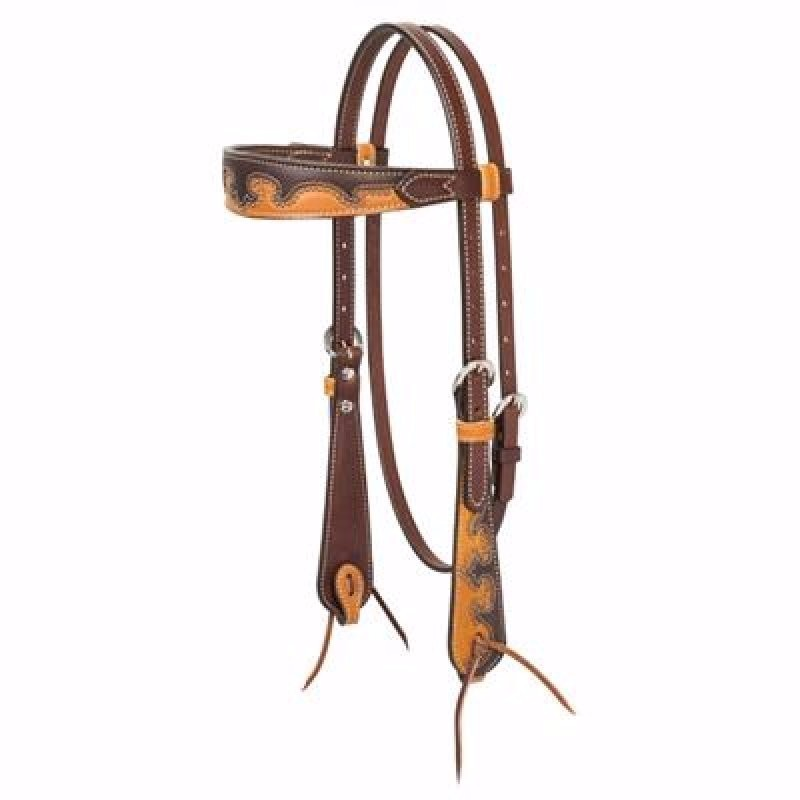 Wingtip Browband Headstall, Rich Brown/Tan