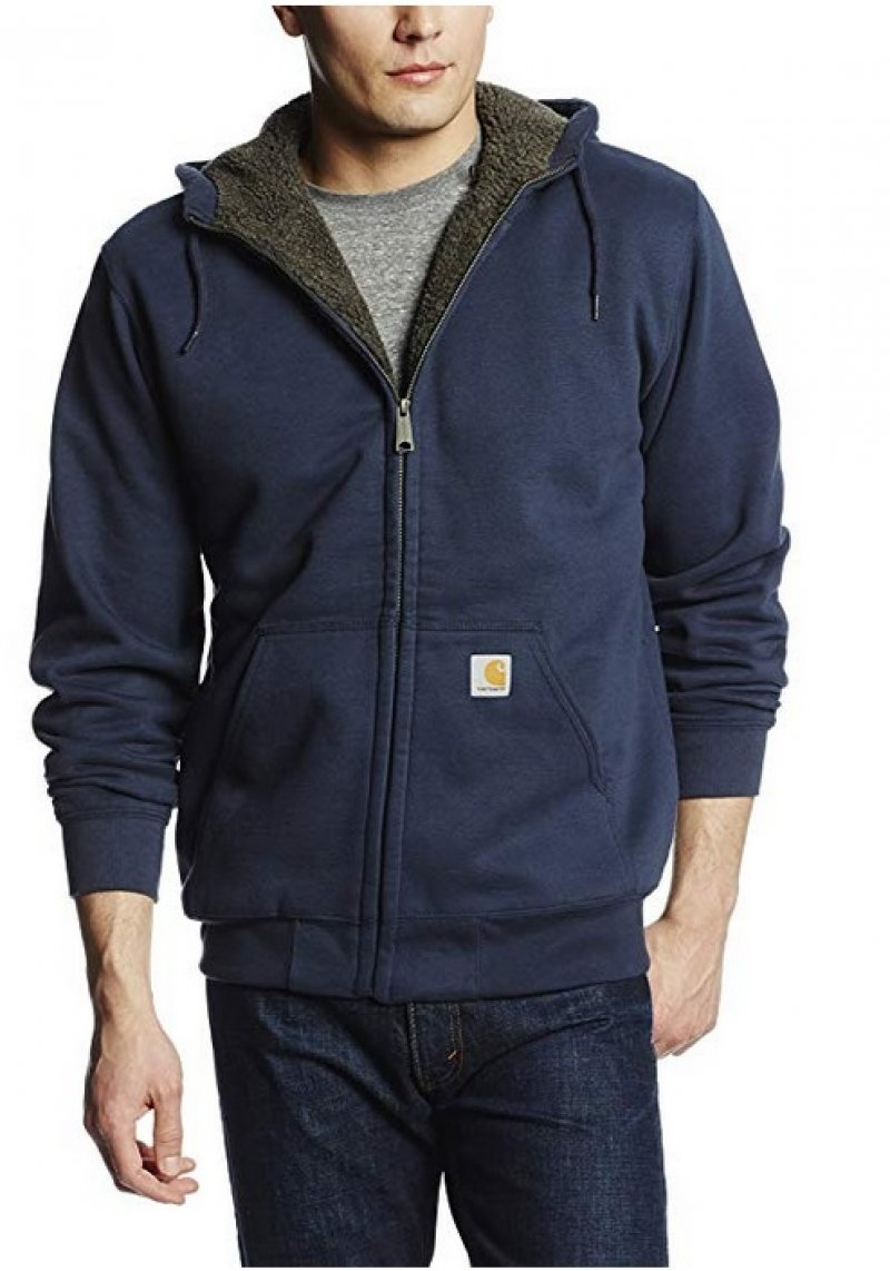 Carhartt Men's Collinston Brushed Fleece Sherpa Lined Sweatshirt DarkBlue
