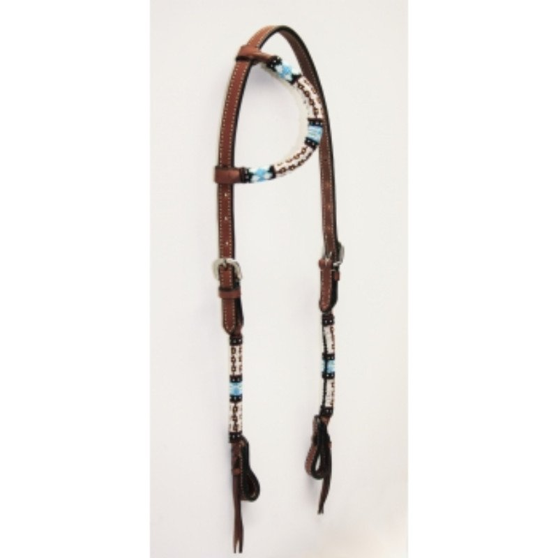 One ear with beads- dark brown