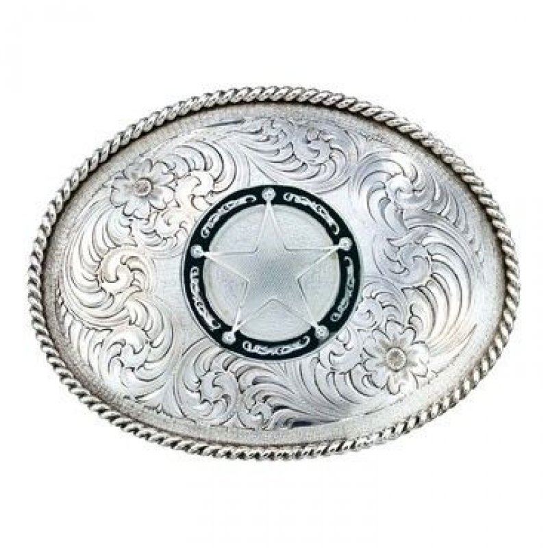 Montana Silversmiths Antiqued Medium Oval Classic Engraved Buckle with Star Concho