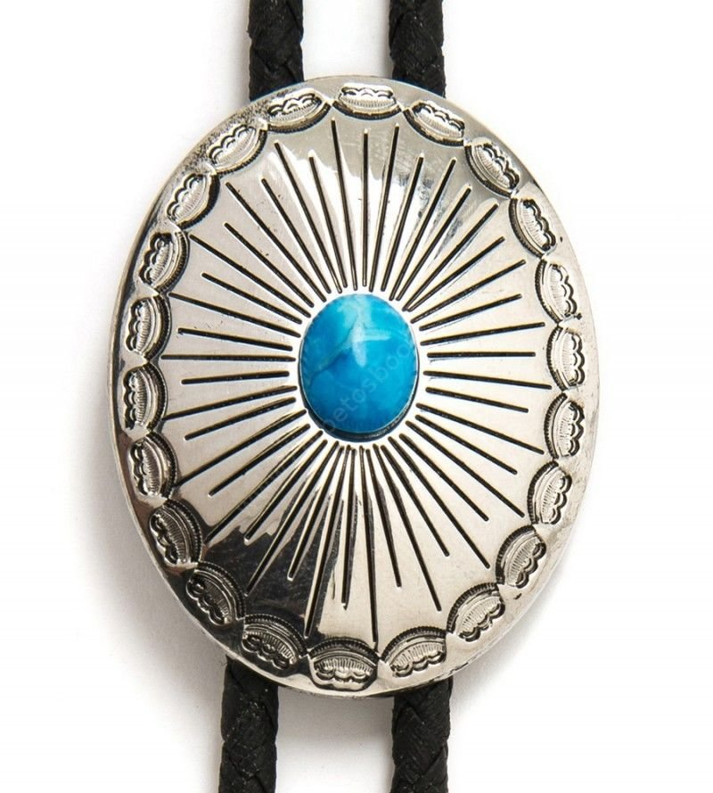 Western oval metallic bolo tie with little blue stone