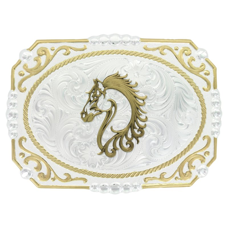 Two-tone Cowboy Cameo Buckle with Filigree Horse Figure