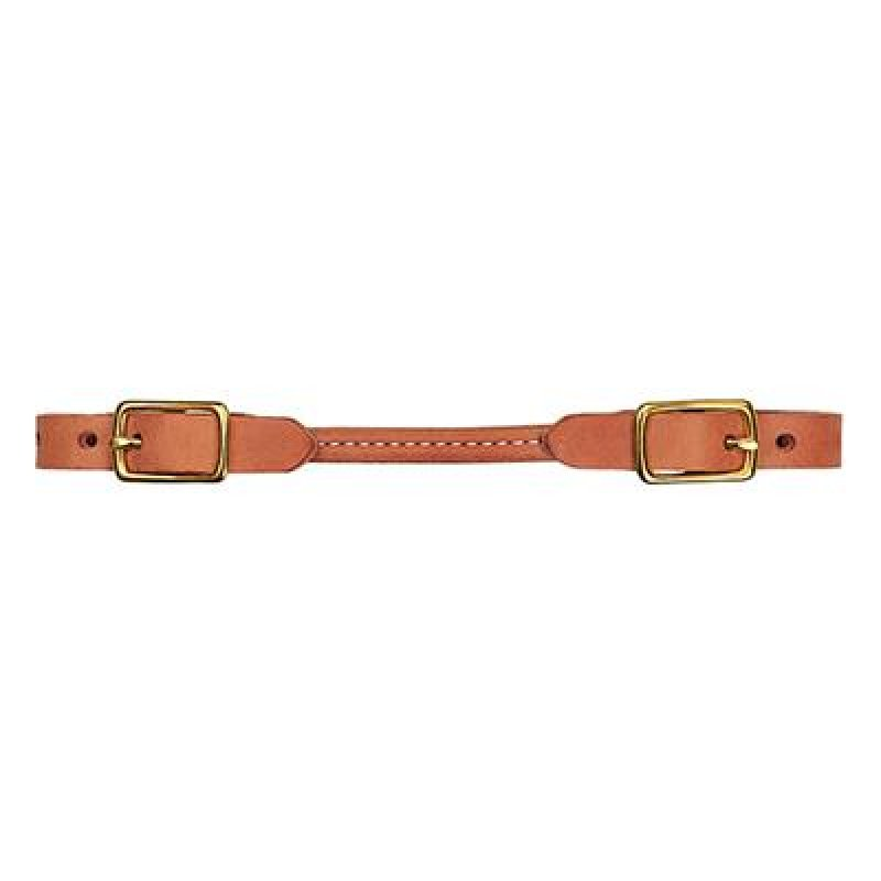 Natural Harness Leather Rounded Curb Strap, Solid Brass Hardware