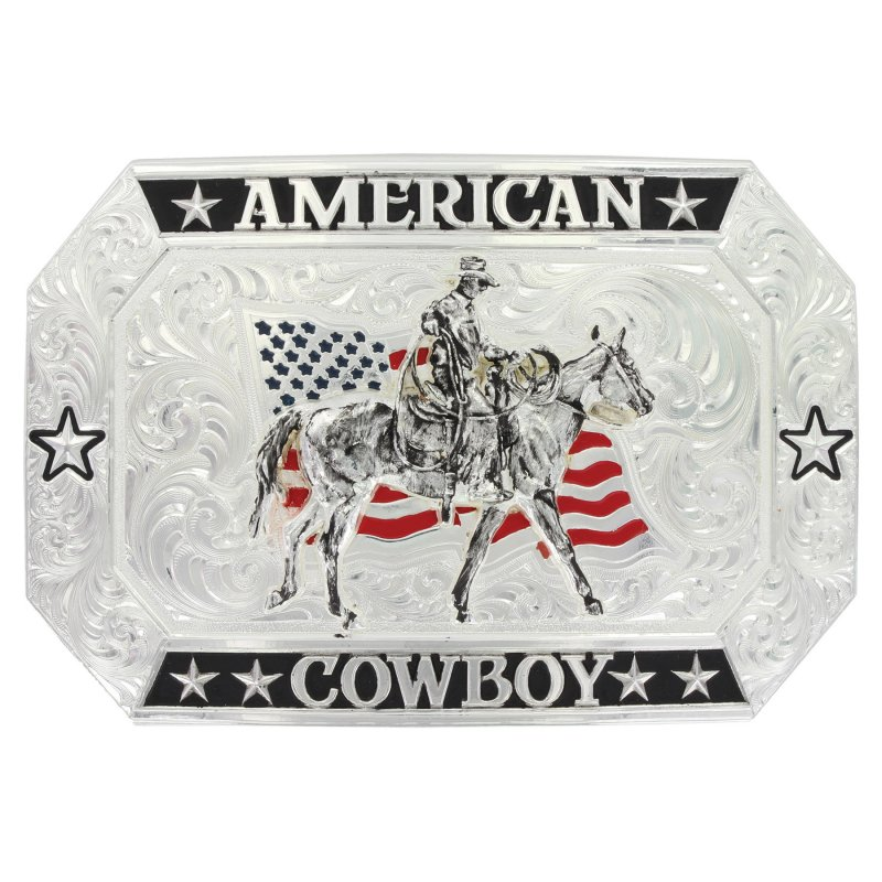 American Cowboy Flag Buckle with Riding for the Brand Figure