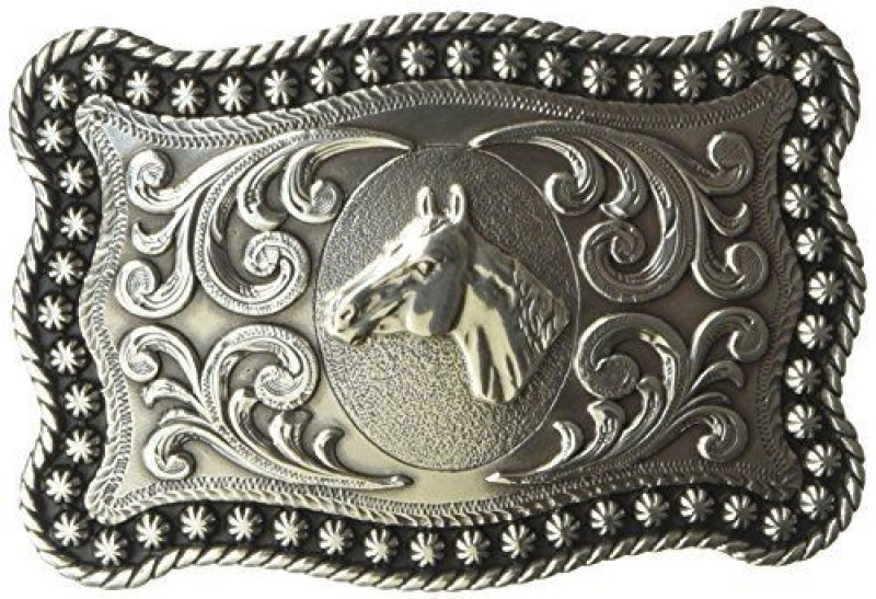 Antique silver horse head with western filigrees belt buckle