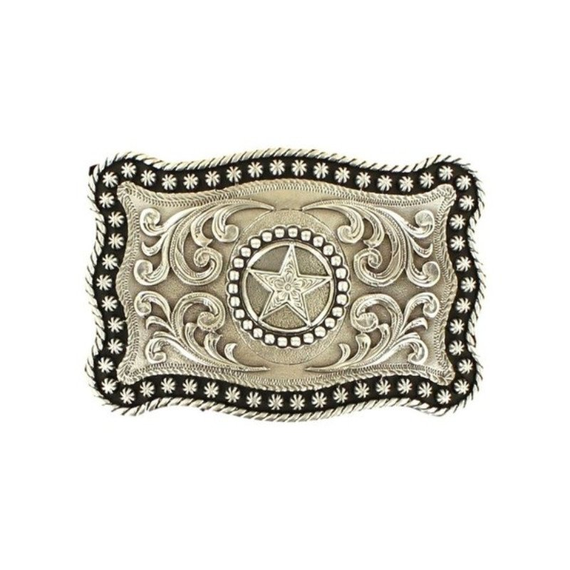 Western Belt Buckle Rectangle Scrolling Star Silver