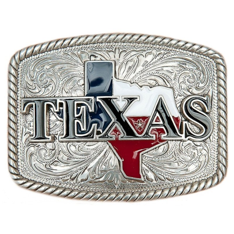 Silver Rectangle Texas Belt Buckle