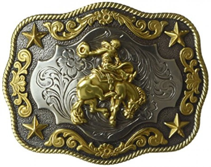2-tone Bronc Scalop Oval Buckle