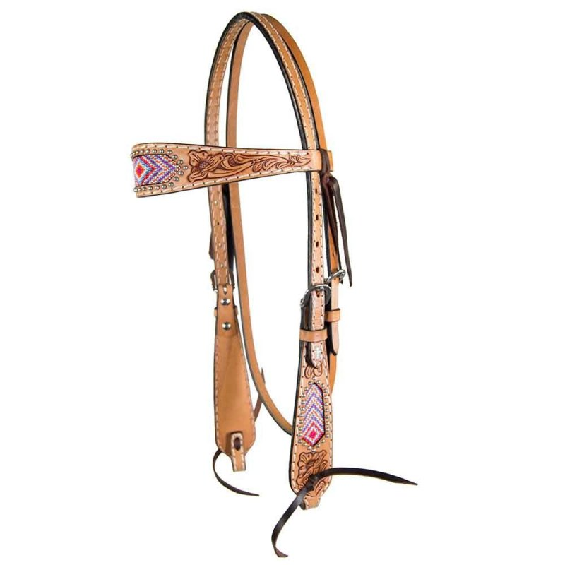 Pink Beaded Floral Browband Headstall