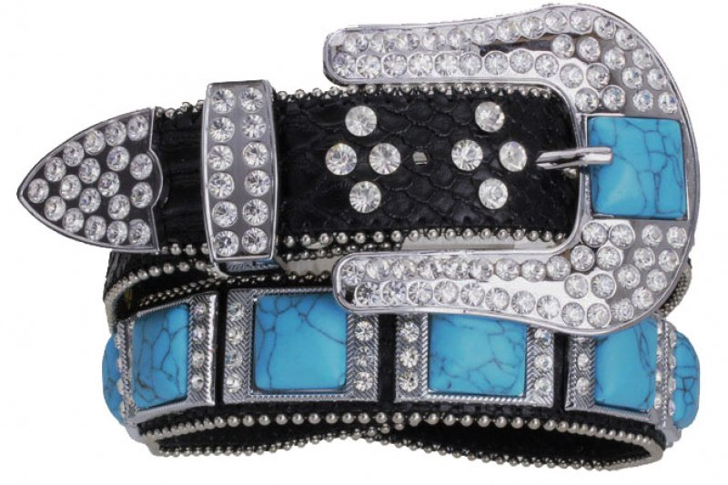Black Leather Belt Turquoise Squares