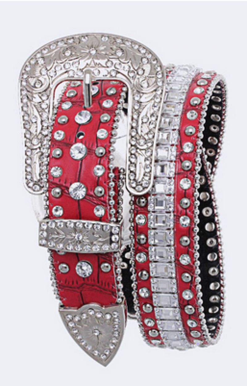 Red studded belt