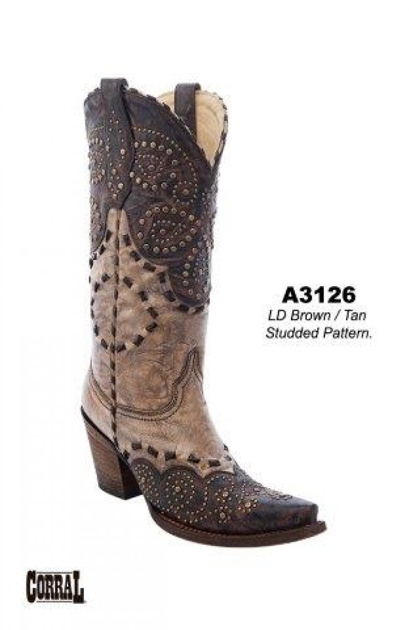 Tan Studded Pattern Boot