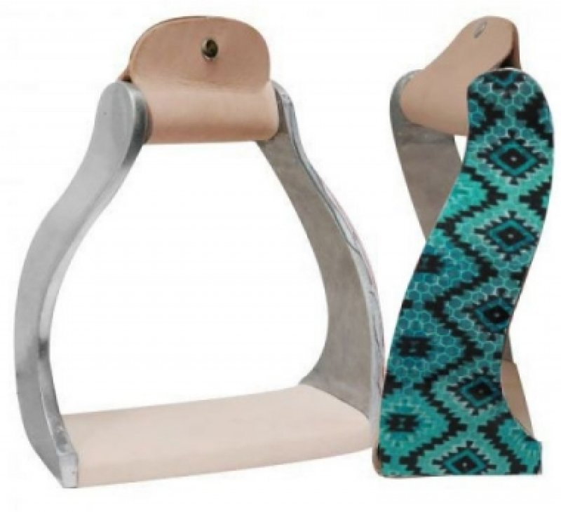 Twisted Angled Aluminum Stirrups With Shimmering Teal Navajo Print