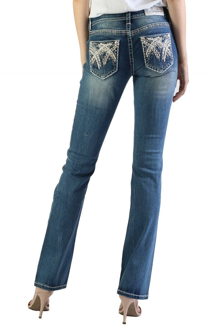 Grace in La Stitched Embellished Easy Bootcut Jeans JB51371