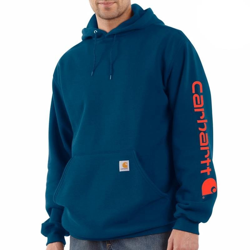Carhartt Blue Hooded Sweatshirt- Orange Letters