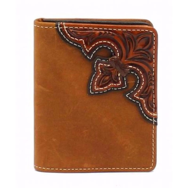 Wallet Bifold Scroll Embossed Overlay Brown