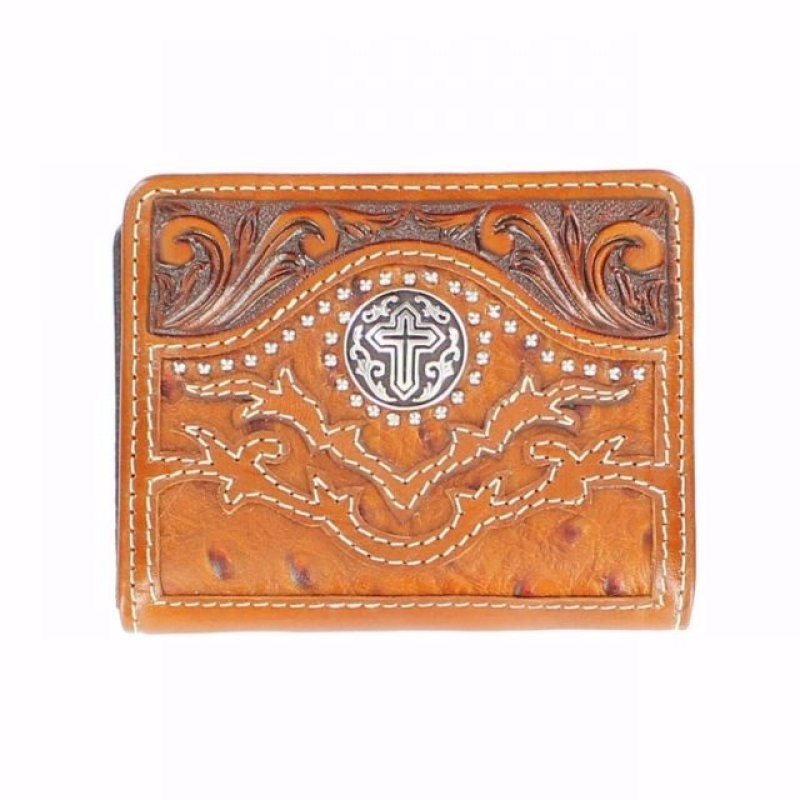 Wallet Bifold Ostrich Cross Tan