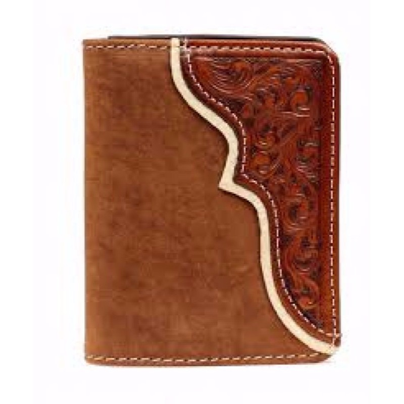 Wallet Bifold Leather Tooled Overlay Rich Earth