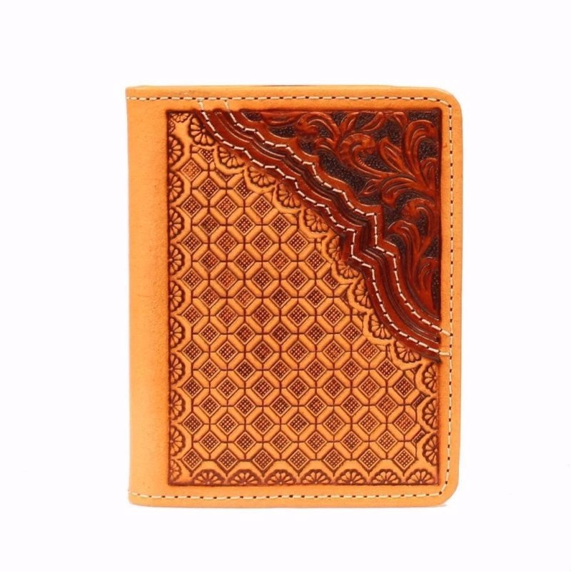 Bifold Leather Stamped Saddle Brown