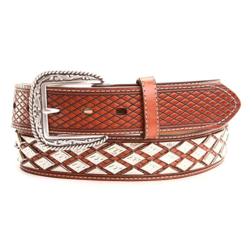 Basket Weave & Concho Leather Belts Brown