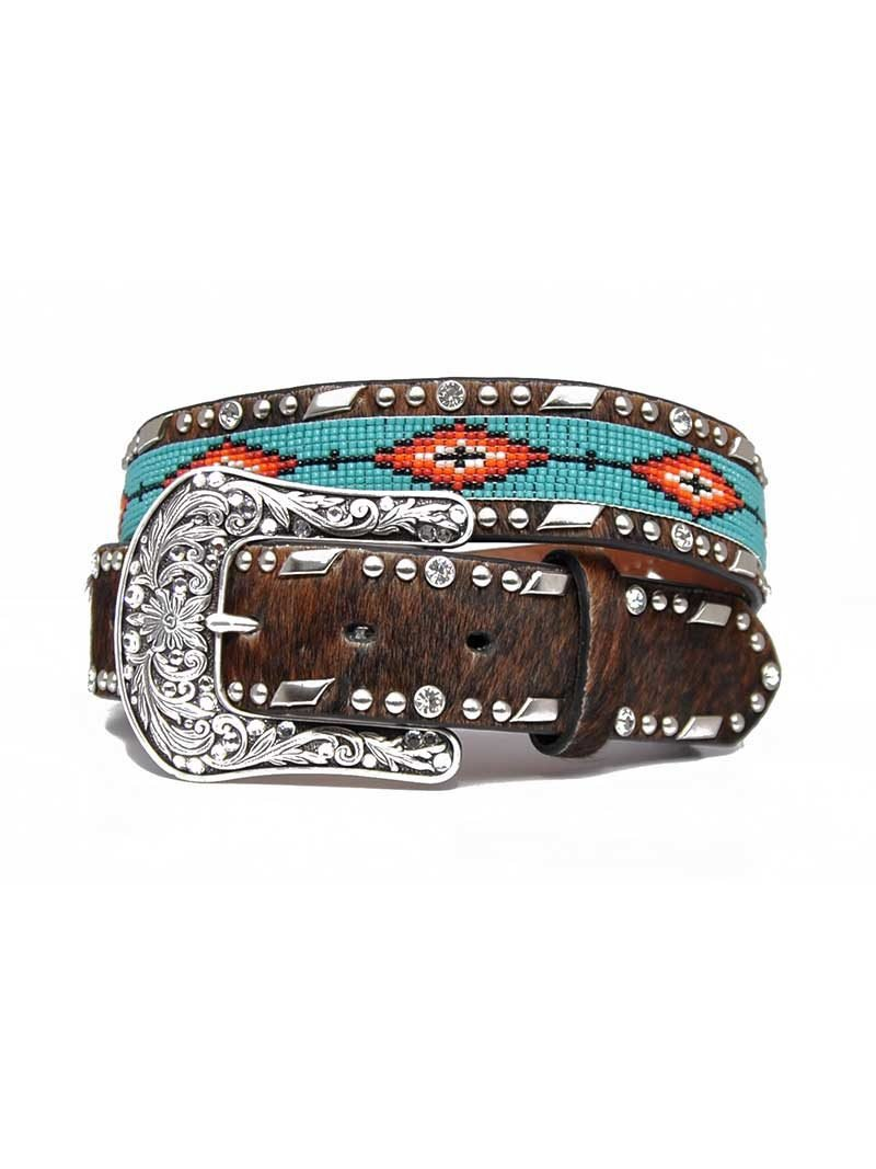 Aztec Beaded Brown Cowhide Belt