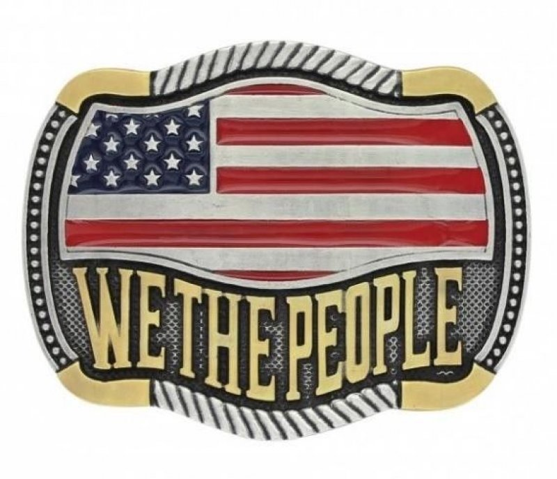 We The People Flag Attitude Buckle