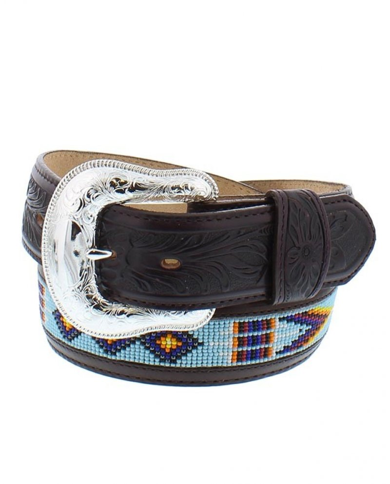 Justin Dark Brown Chimayo Bead Western Belt