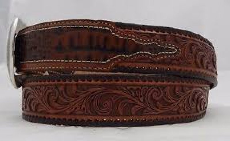 Tony Lama Brown Tooled Caiman Western Belt