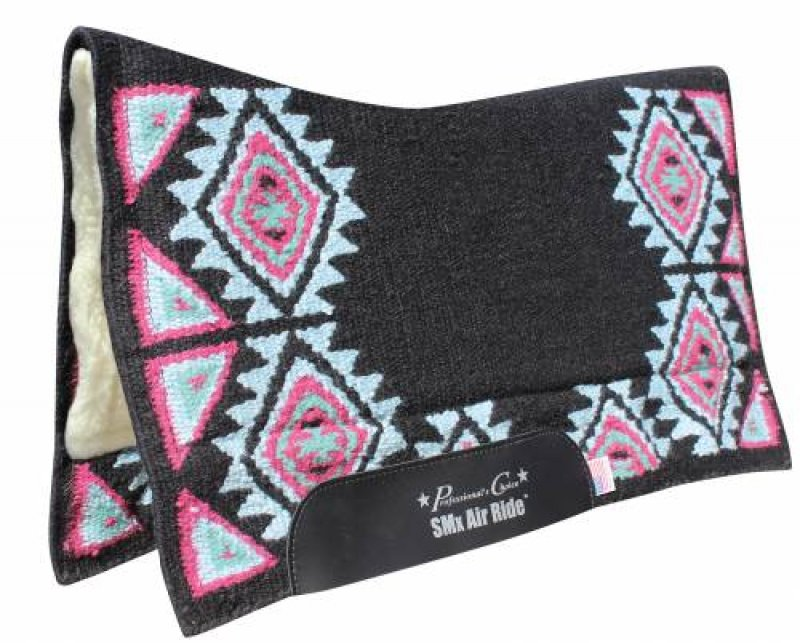 Comfort-Fit SMx Air Ride Saddle Pad: BUCKEYE Black / Wine 33x38