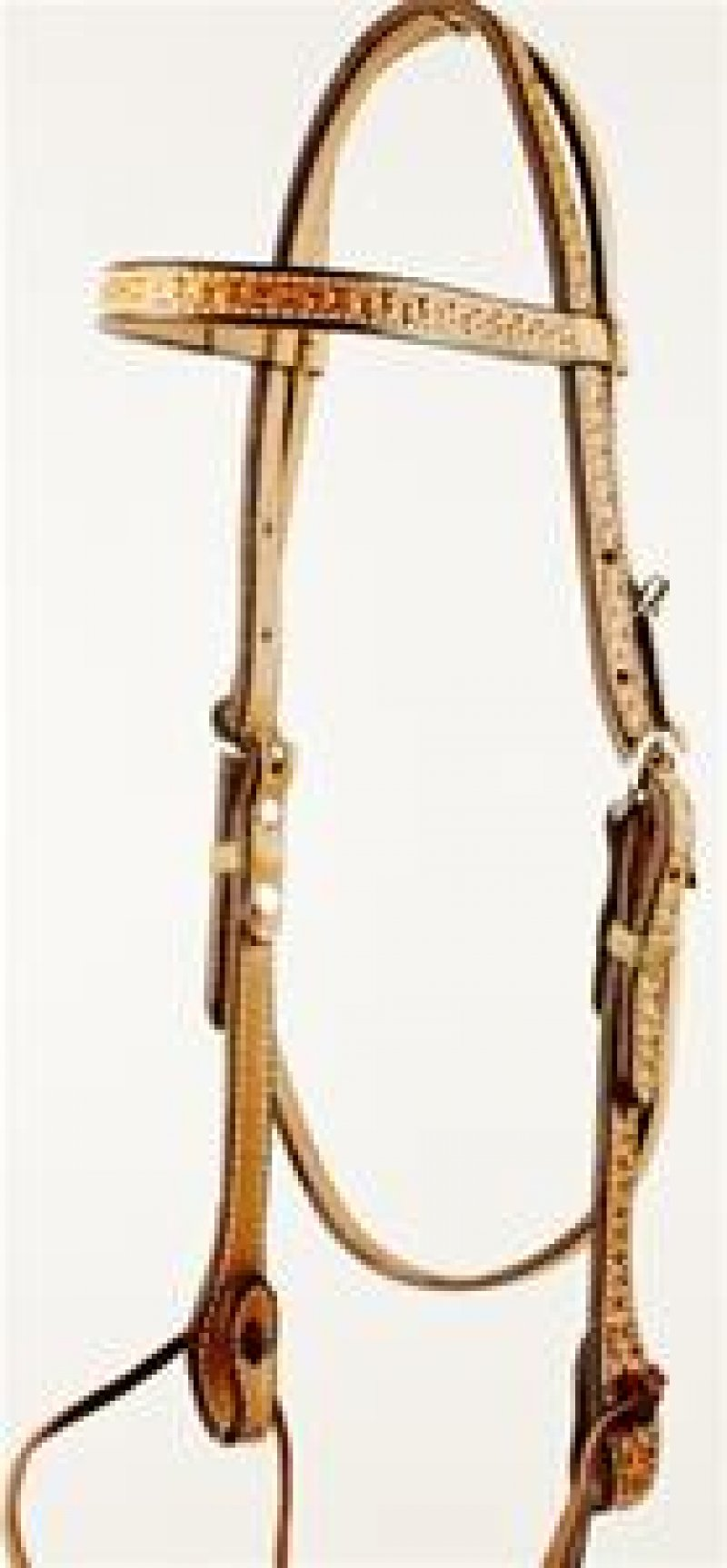 Tooled Browband Headstall with Ties - Natural