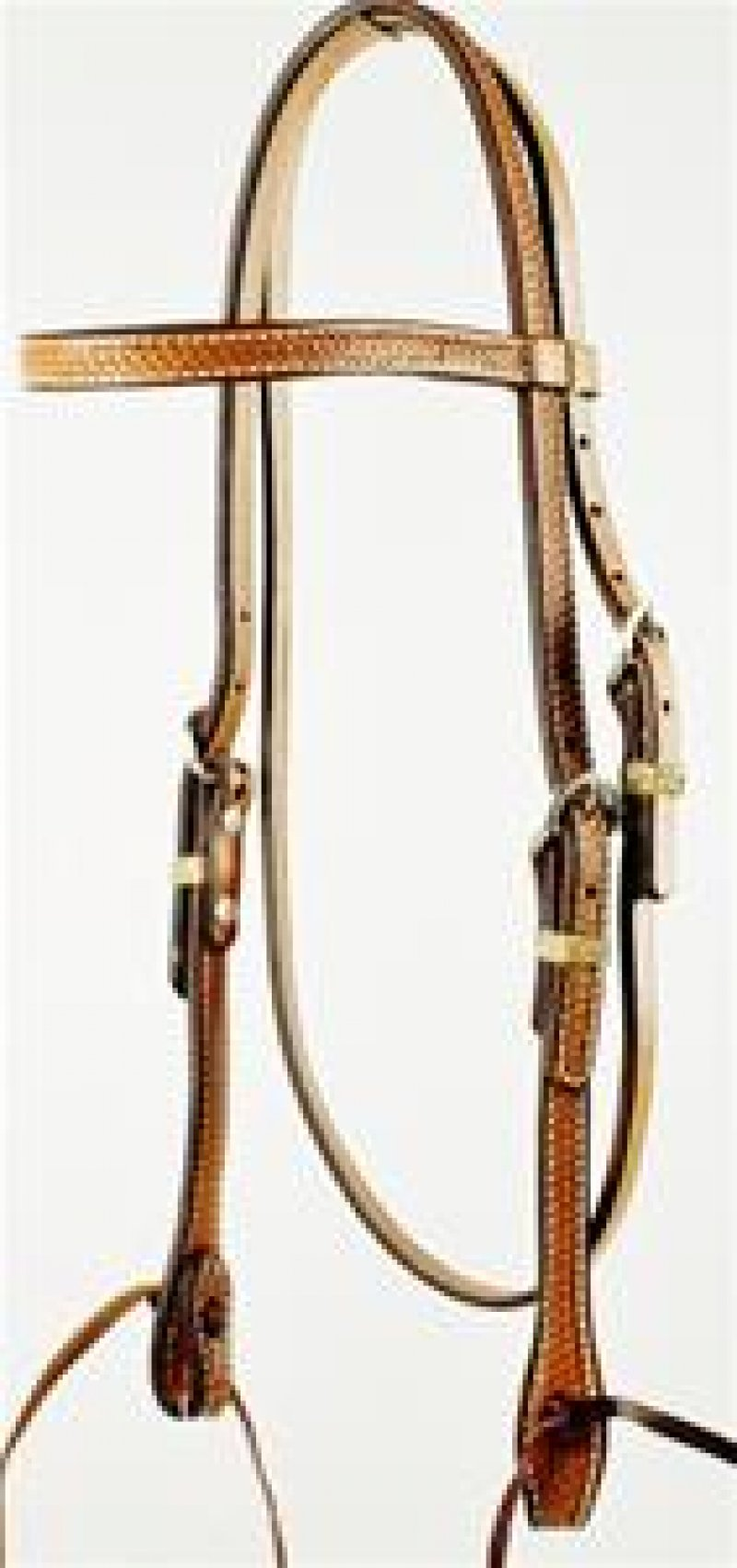 Basket Weave Tooled Browband Headstall with Ties