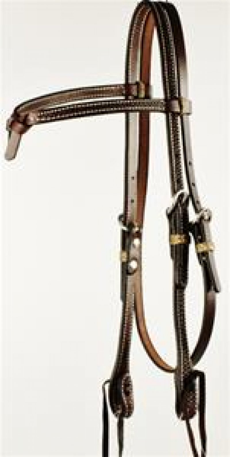 Oiled Basket Weave Tooled Futurity Knot Browband Headstall with Ties