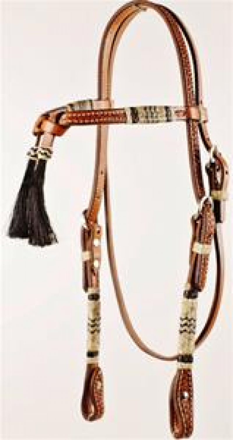 Tooled Futurity Knot Browband Headstall with Black & Natural Rawhide and Screws