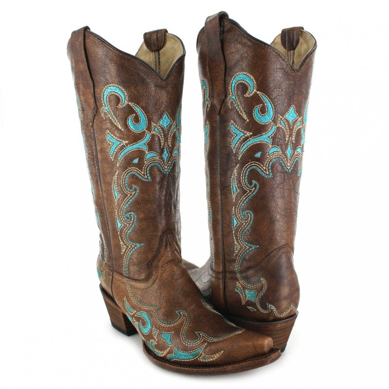 Circle G Women's Embroidered Cowgirl Boot Snip Toe