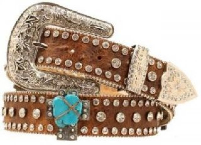 Womens Leather Belt Brown Calf Small - Turquoise stones
