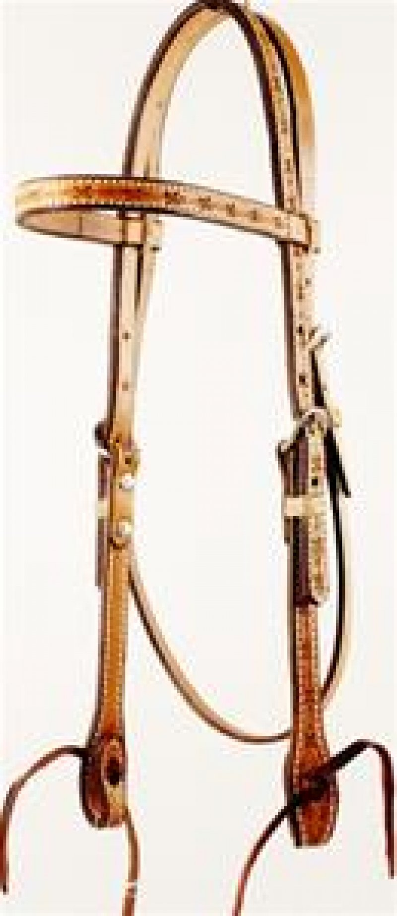 Barbwire Tooled Browband Headstall with Ties