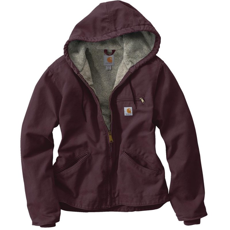 Women's 100% Cotton Sandstone Duck Hooded Sierra Jacket - Deep Wine
